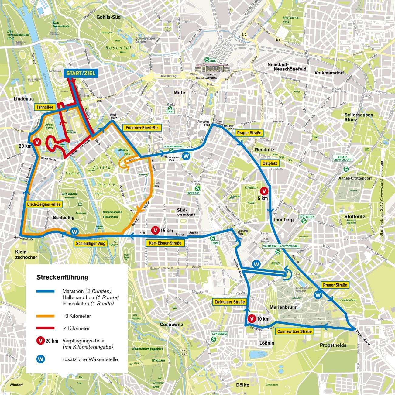 Der Streckenplan vom Leipzig Marathon