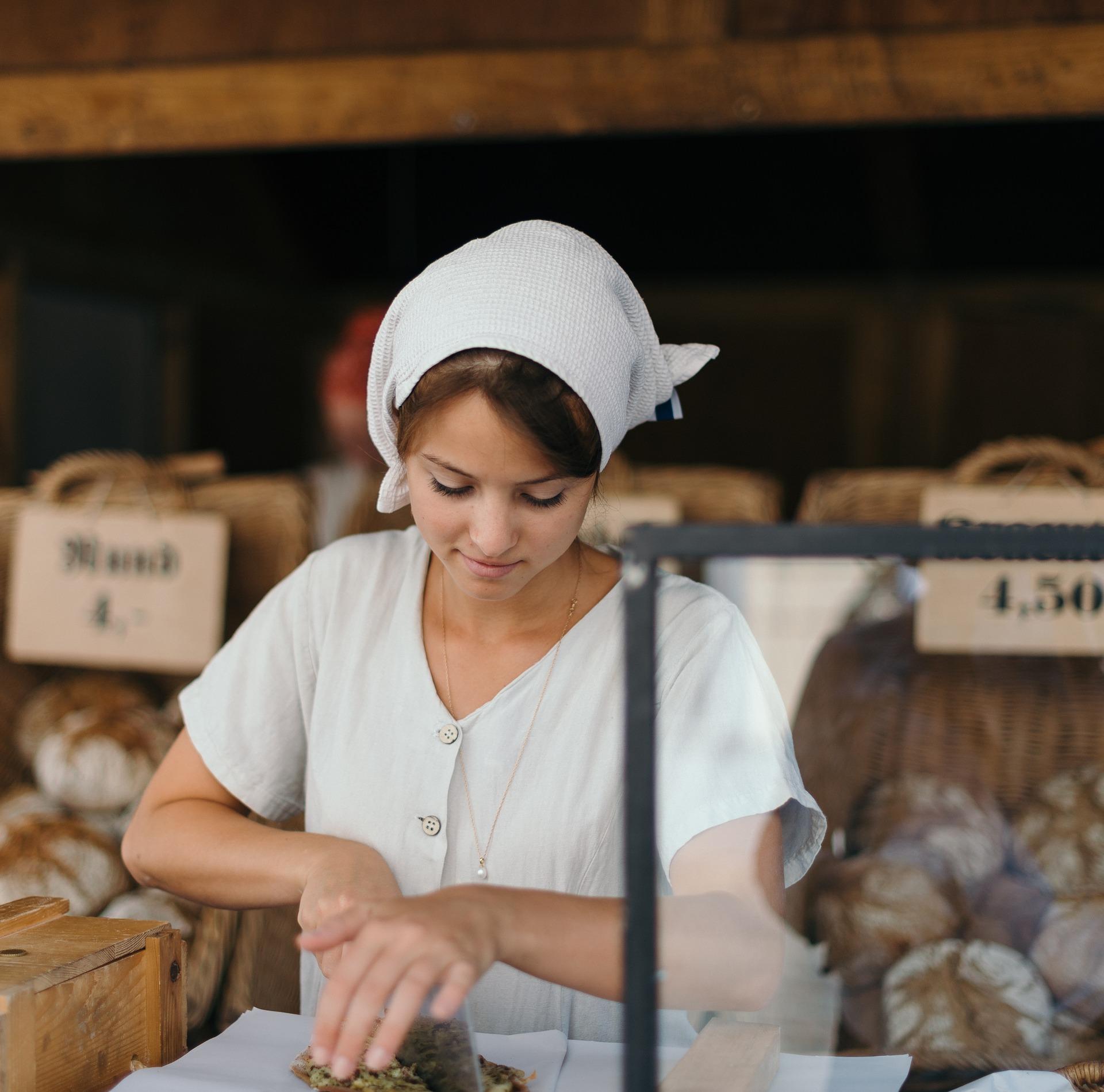 Einzelhändlerin auf den Leipziger Markttagen